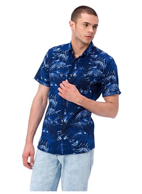 LC Waikiki Desenli Kısa Kollu Gömlek Lacivert